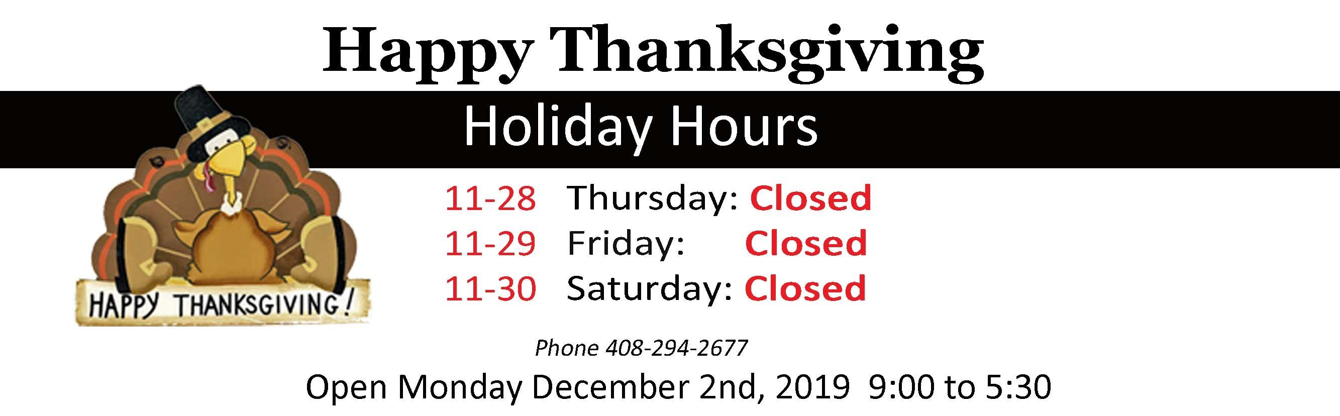 Closed Thanksgiving 2018